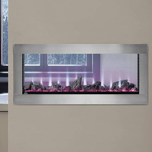 Napoleon Clearion See Through electric fireplace stainless steel