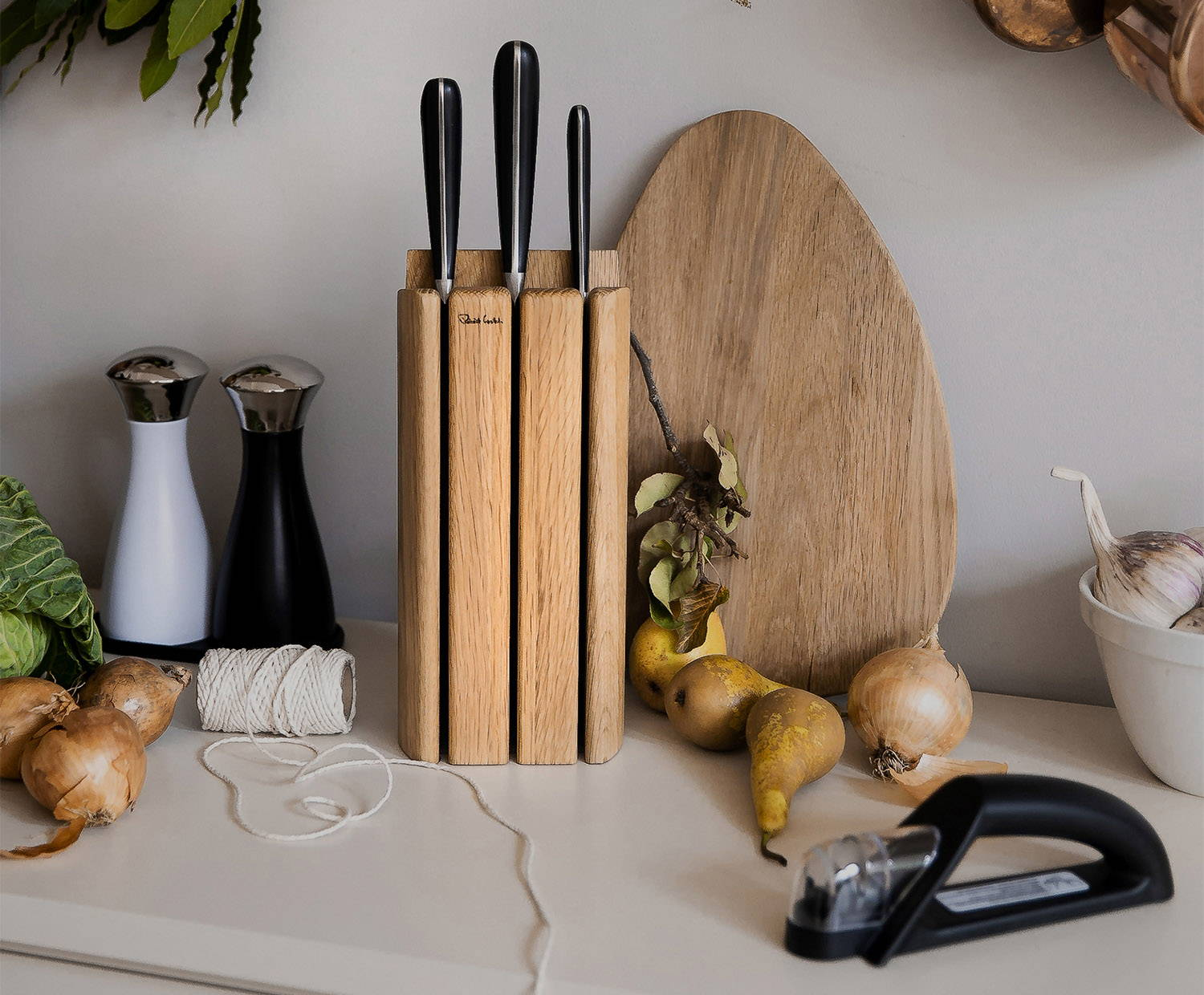 Signature Book Oak Knife Block Set 4P Cook's