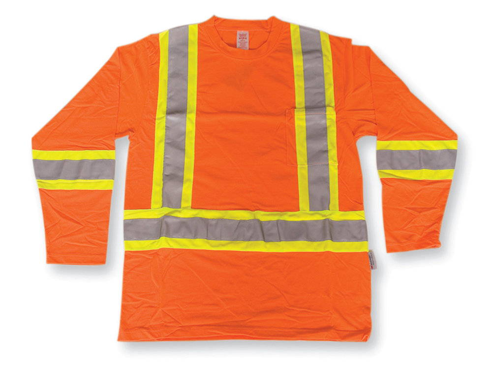 High visibility long sleeve safety shirt with 4 inch stripes - Big K BK2008