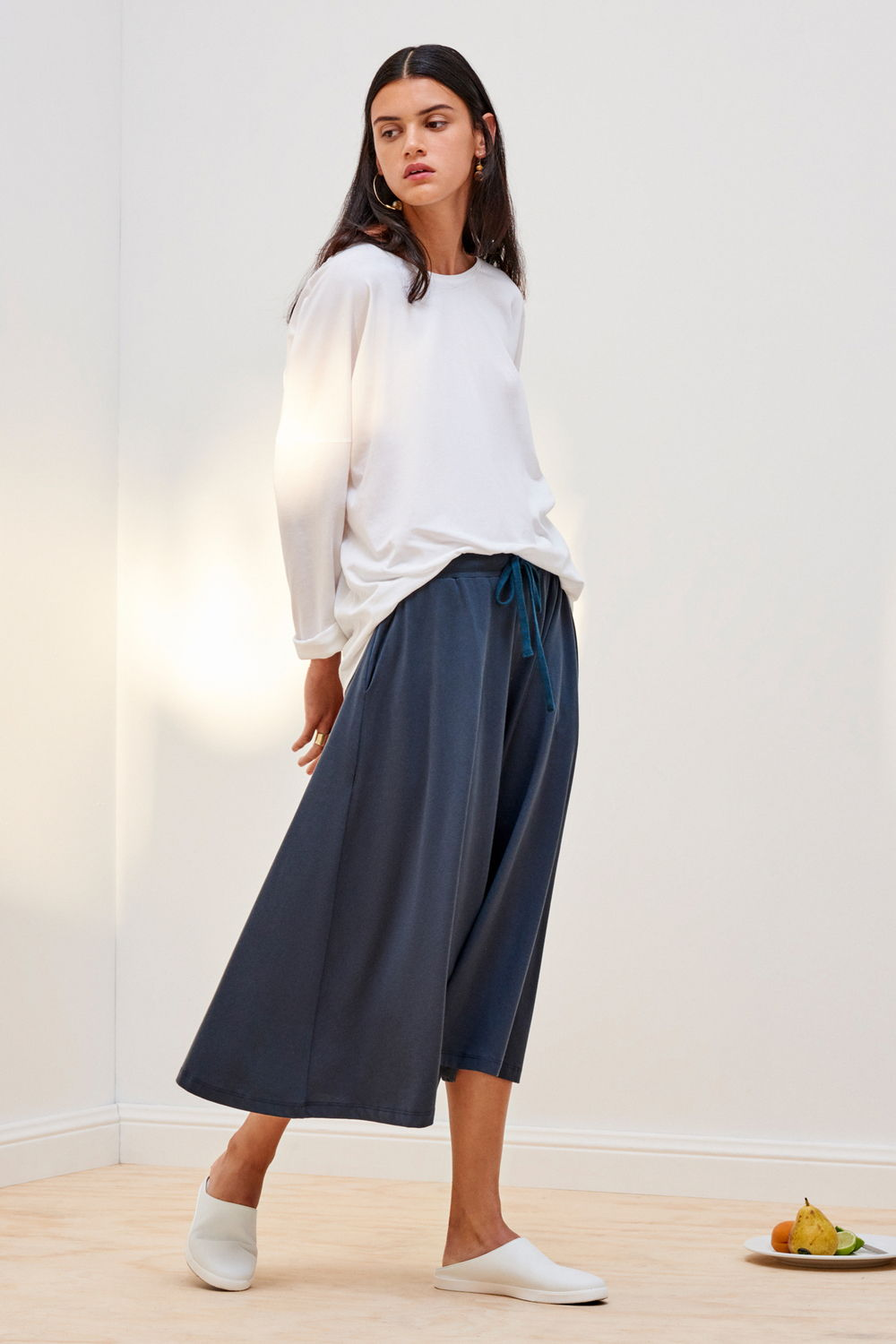 Dark Teal Organic Cotton Building Block Culottes - Kowtow | Ecoture