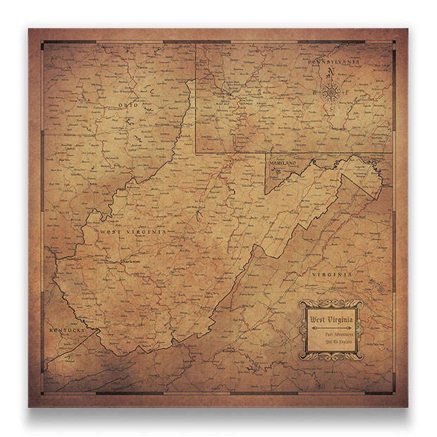 West Virginia Push pin travel map golden aged