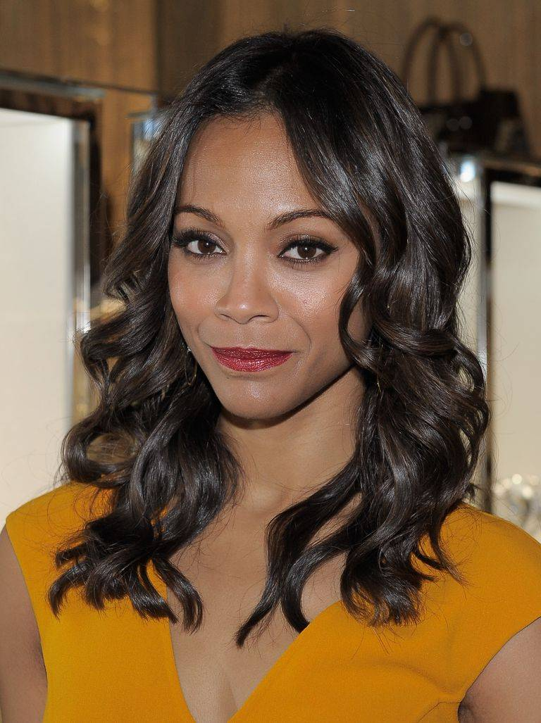 Zoe Saldana with curly hair