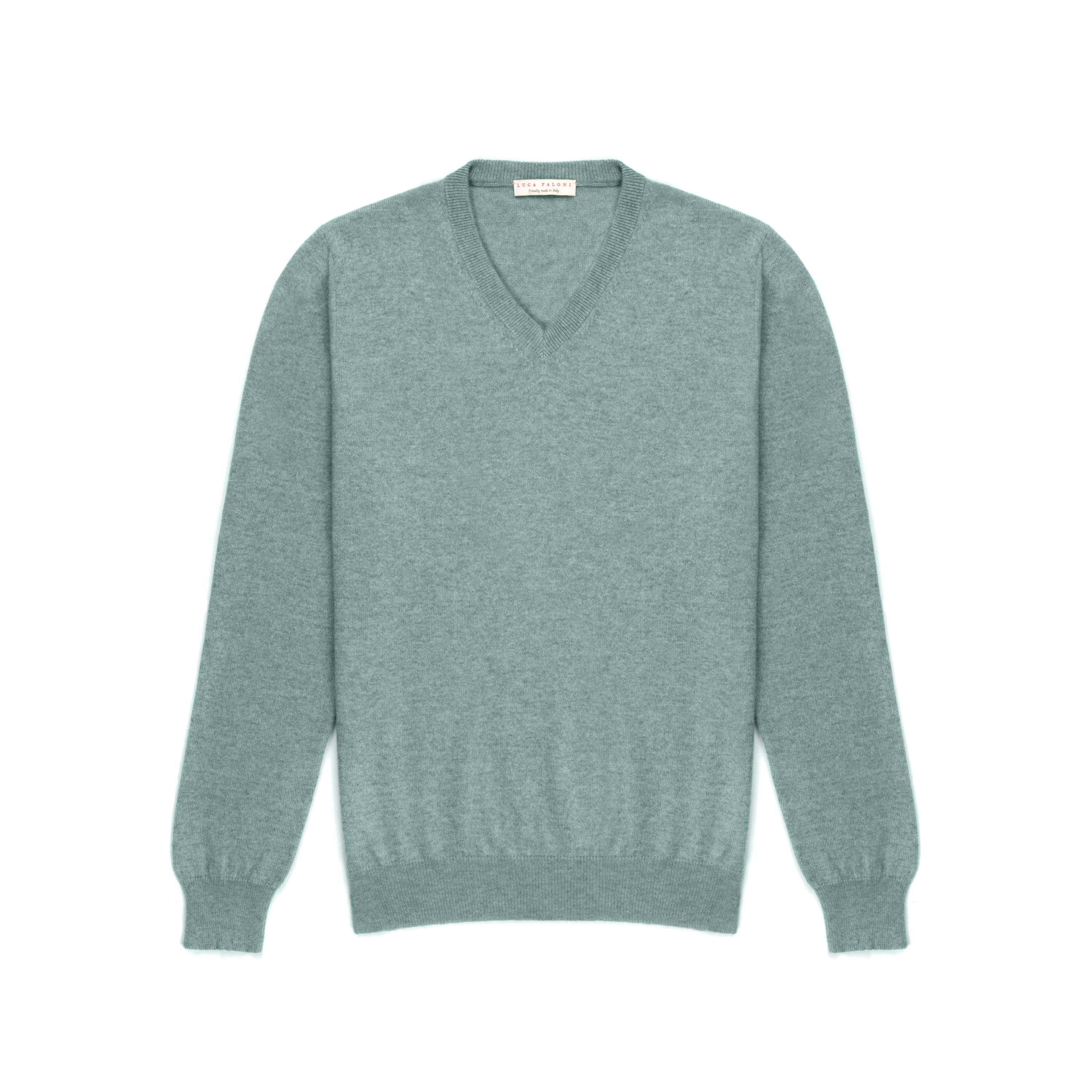 Luca Faloni Marine Green Pure Cashmere V Neck Made in Italy