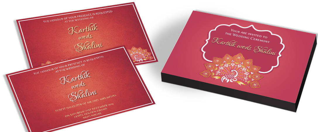 Traditional Indian Wedding Invitation with Peacock Theme