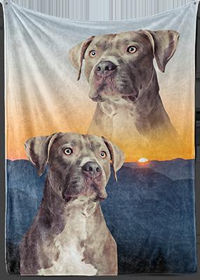 Retro dog art on fleece blanket