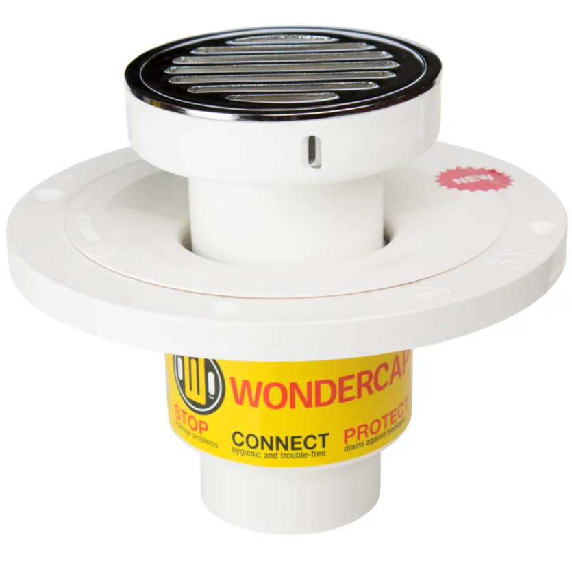Wondercap shower drain round strainer chrome brass