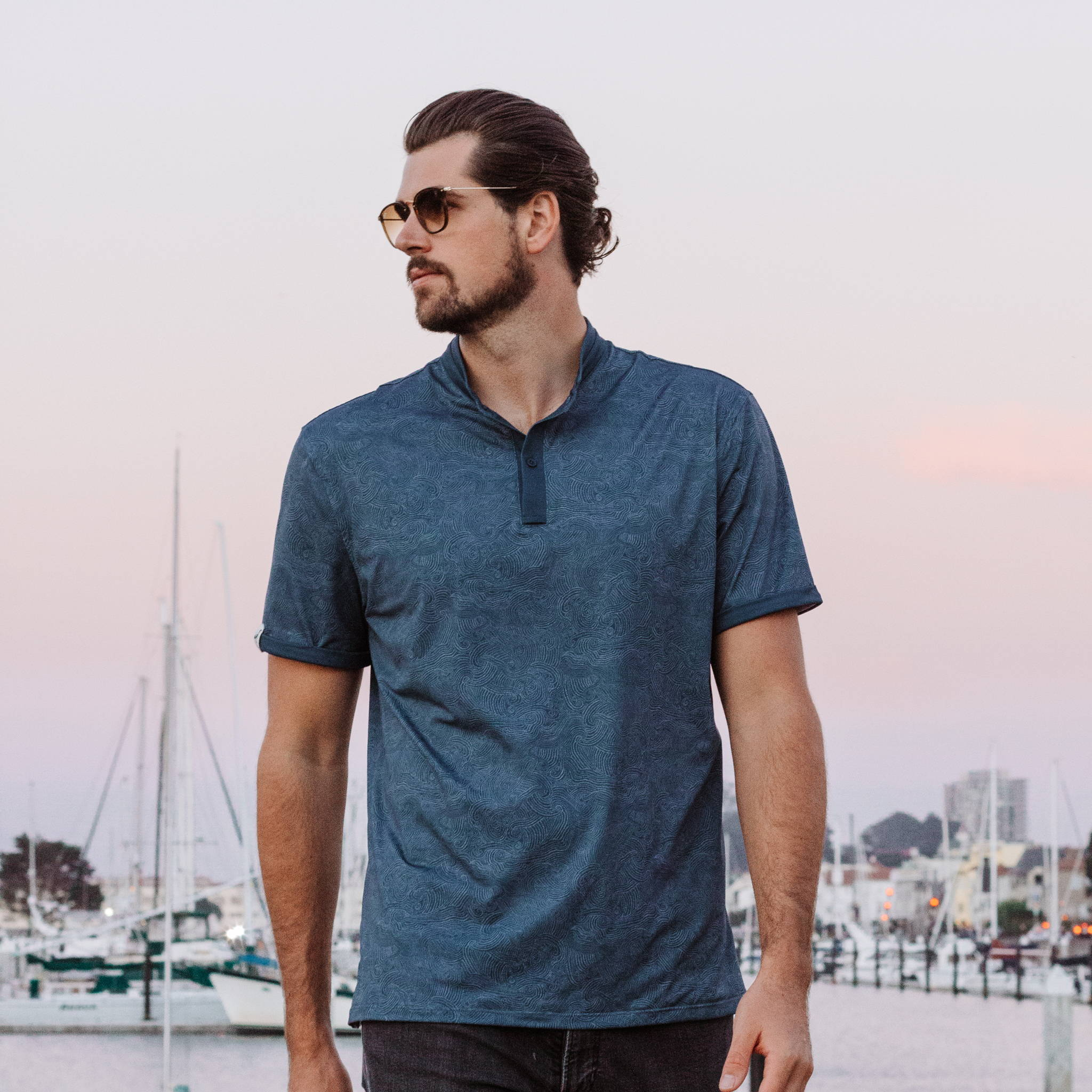 MANTRA The Gyre - Polar Polo - sustainable mens polo made in the USA from repurposed materials