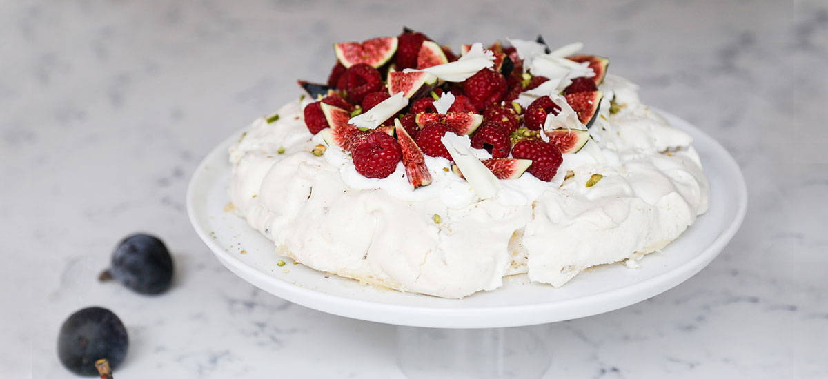 White Chocolate and Raspberry Pavlova