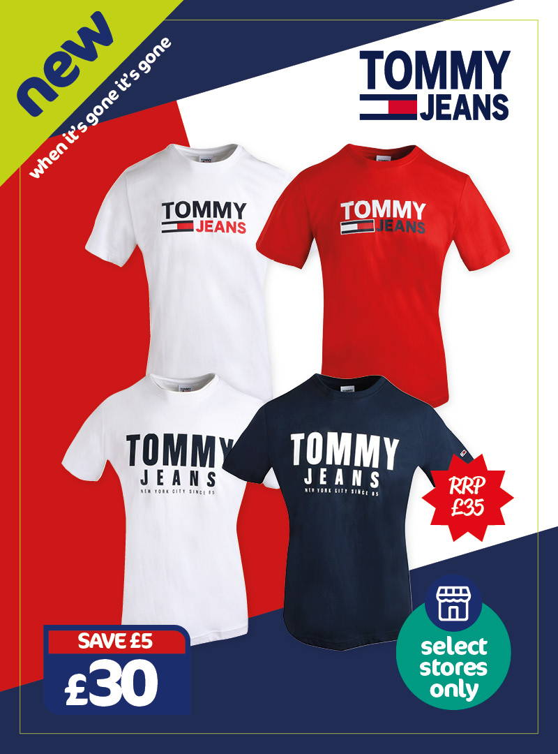 New - Tommy Jeans graphic tees. £30, RRP £35, save £5. Selected stores only, when it's gone it's gone!