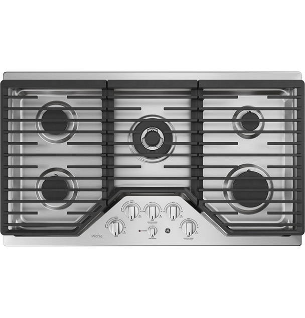 GE Gas Cooktop top-down photo on white background.