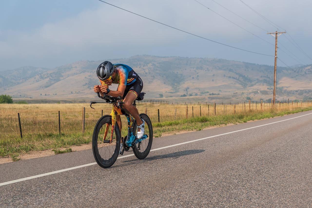 Eduardo Della Maggiora triathlon bike and Boost helmet
