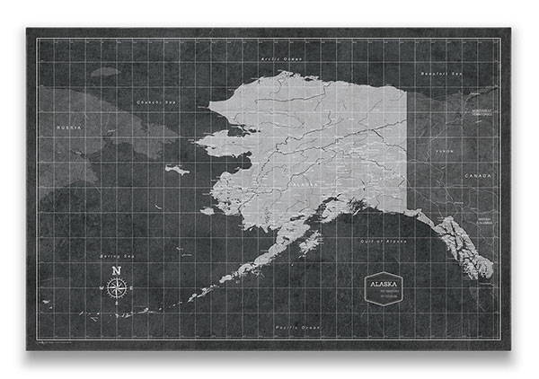 Alaska Push pin travel map Modern slate