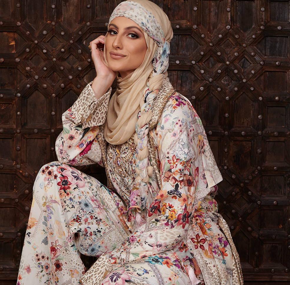 Yasmin Jay CAMILLA sew in love trench, camilla beige floral pants, camilla sew in love pants, camilla sew in love scarf