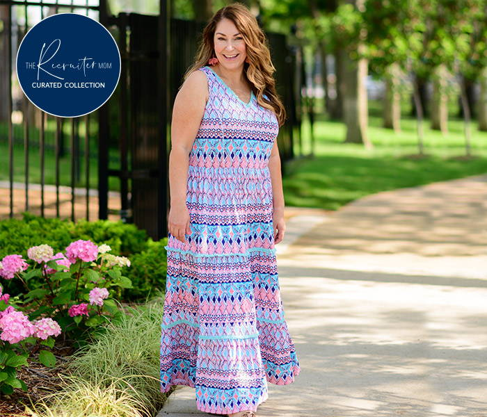 The Recruiter Mom wearing St. Barts Sleeveless Tiered Maxi Dress