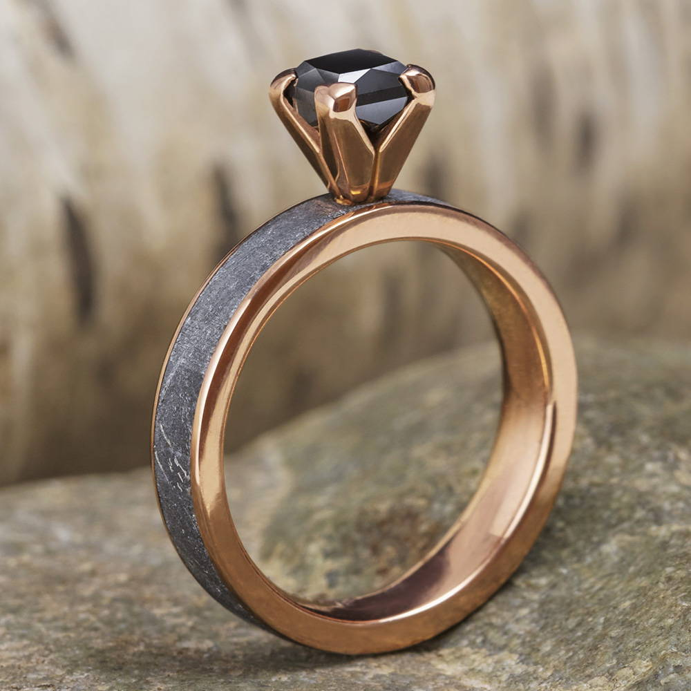 Black Diamond Meteorite Ring