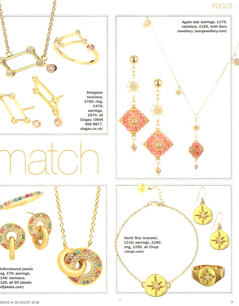 SORU LOREDANA EARRINGS IN S MAGAZINE, SORU PINK EARRINGS