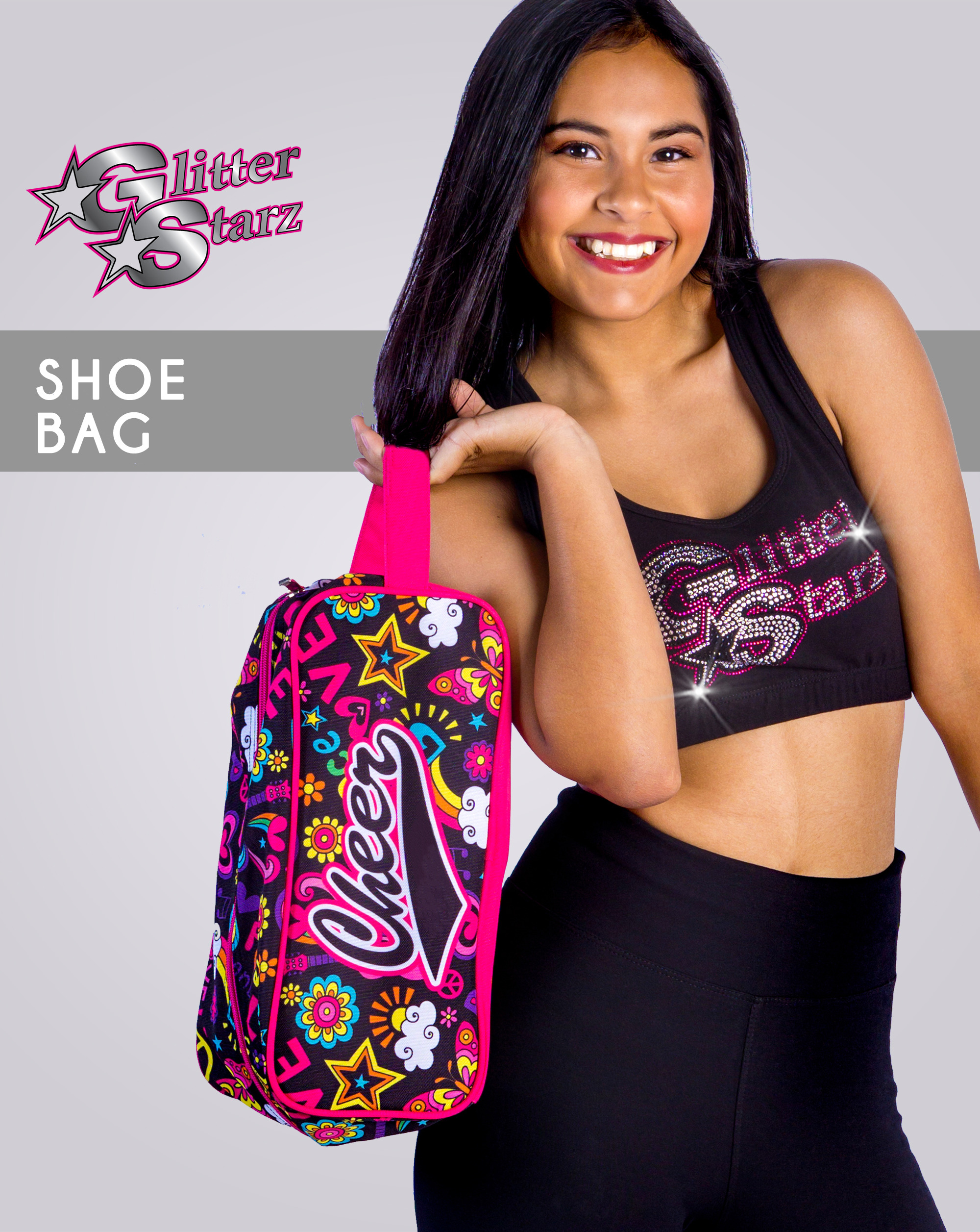 glitterstarz dyesub shoe bag pink cheer gifts competition travel
