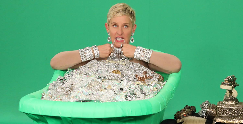 Ellen Degeneres Green Tub of Diamonds