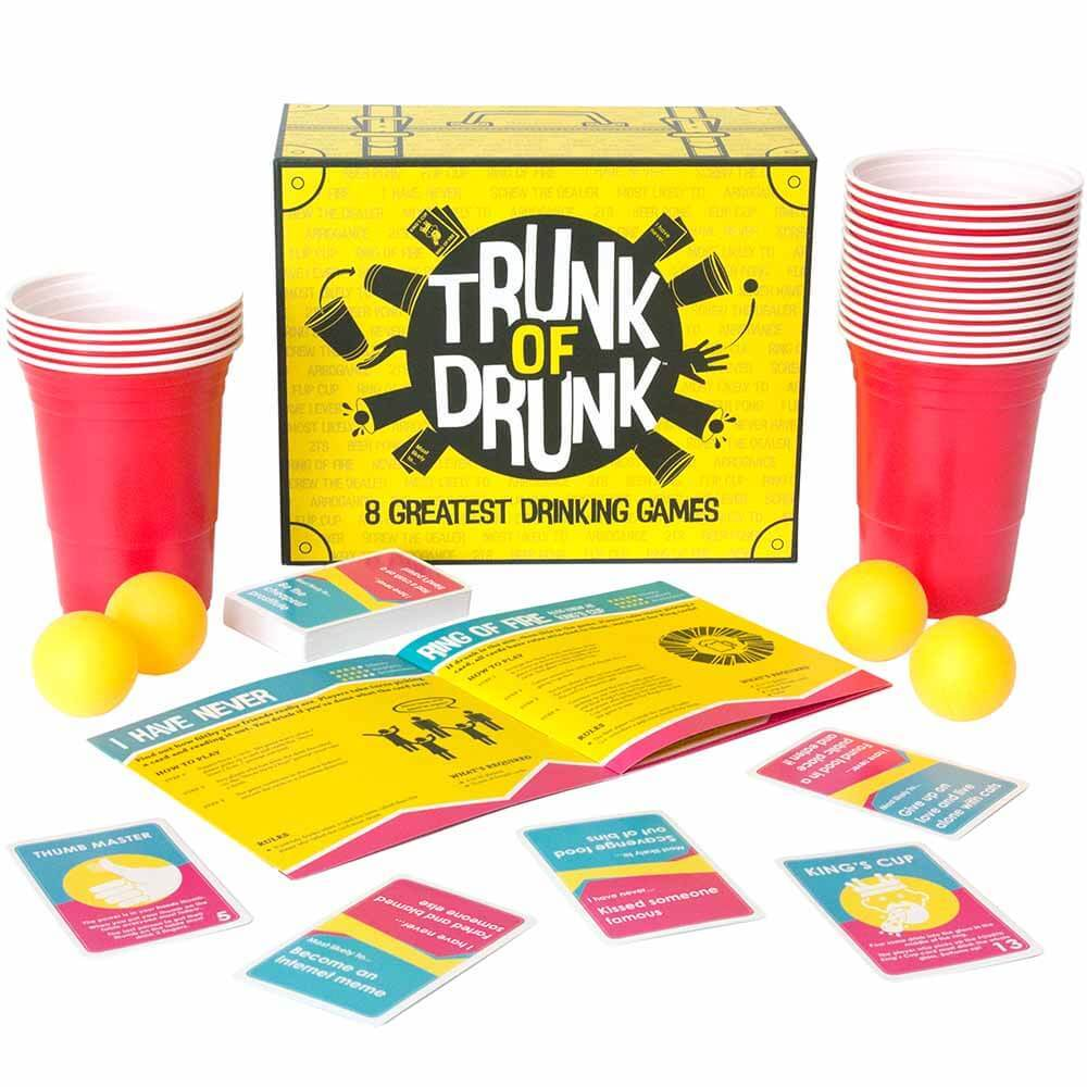 Trunk of Drunk drinking game set with beer pong cups and cards