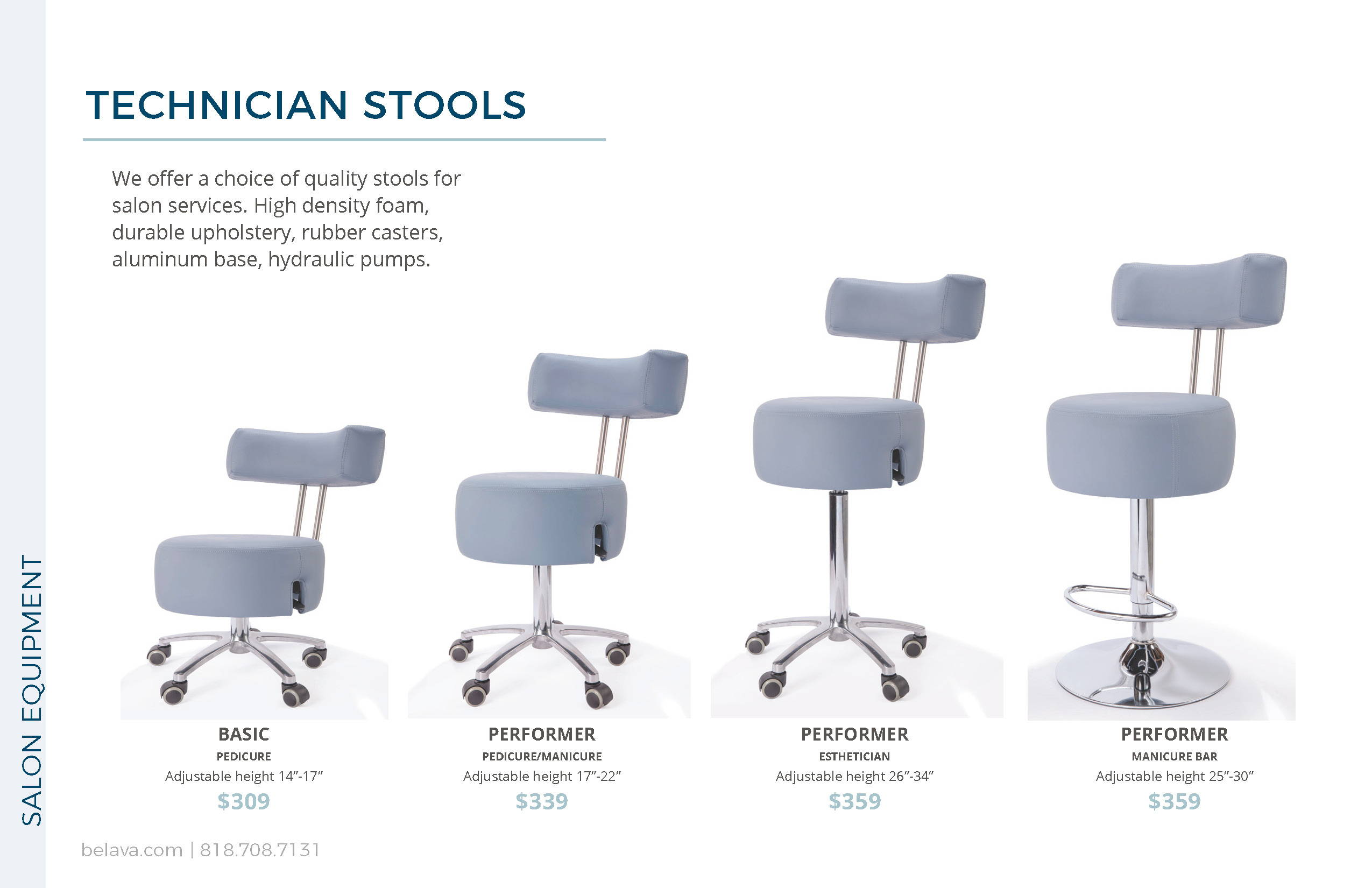 Nail Tech Stool Options by Belava