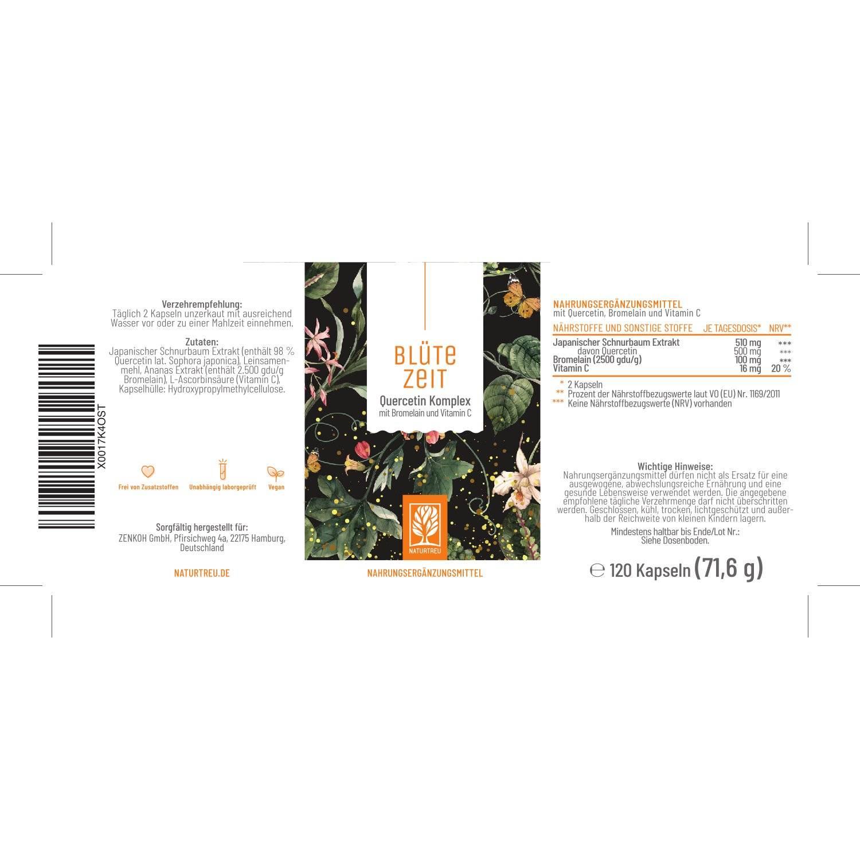 Blütezeit Quercetin-Komplex - Etikett mit Inhaltsstoffen