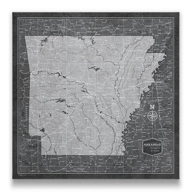 Arkansas Push pin travel map modern slate