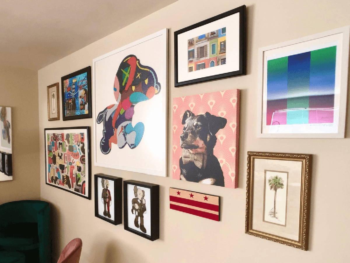 Two Shart Original T-Shirt Frames in home wall of art featuring Kaws