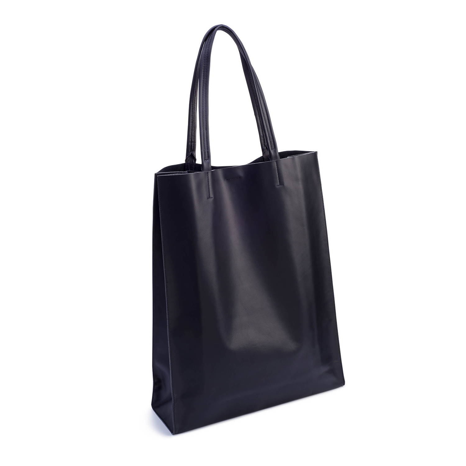Super Market Tote In Black Leather