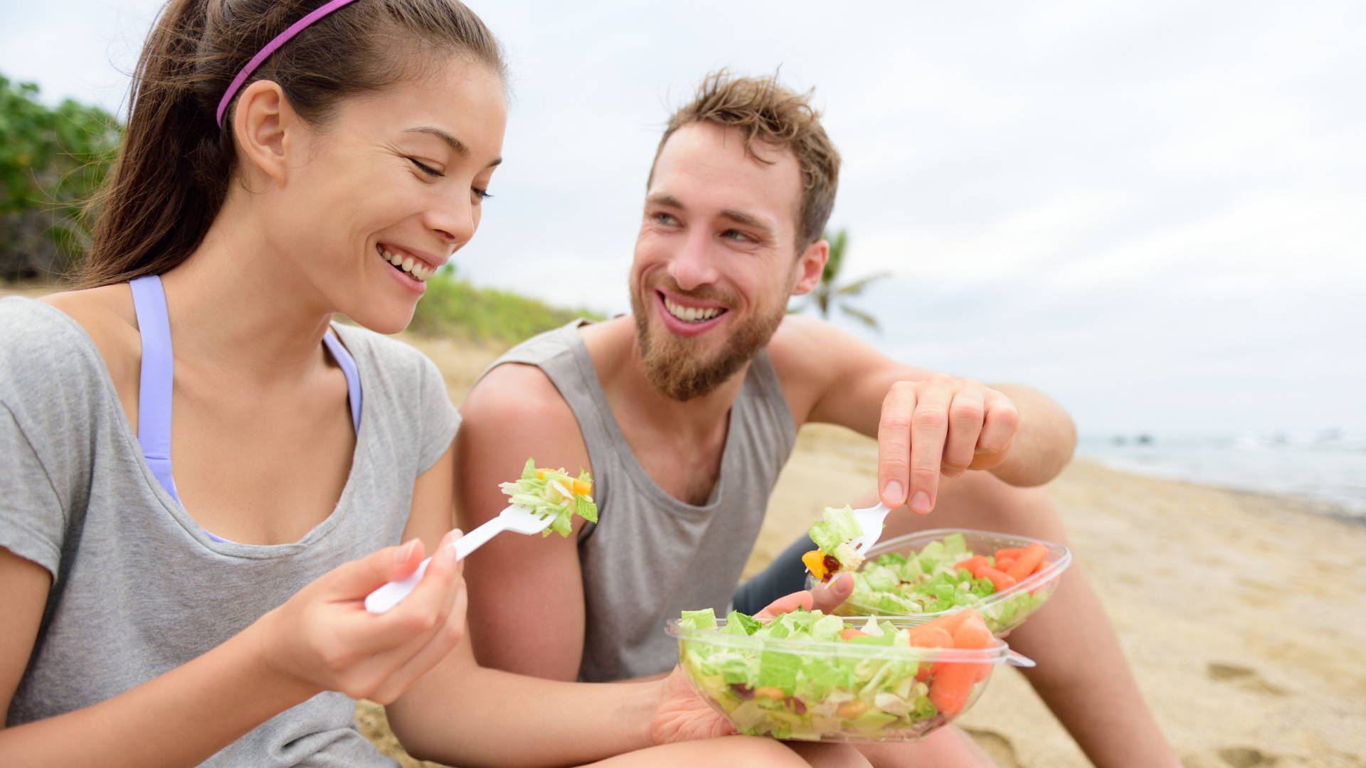 Eating Healthy Vegetable In The Beach