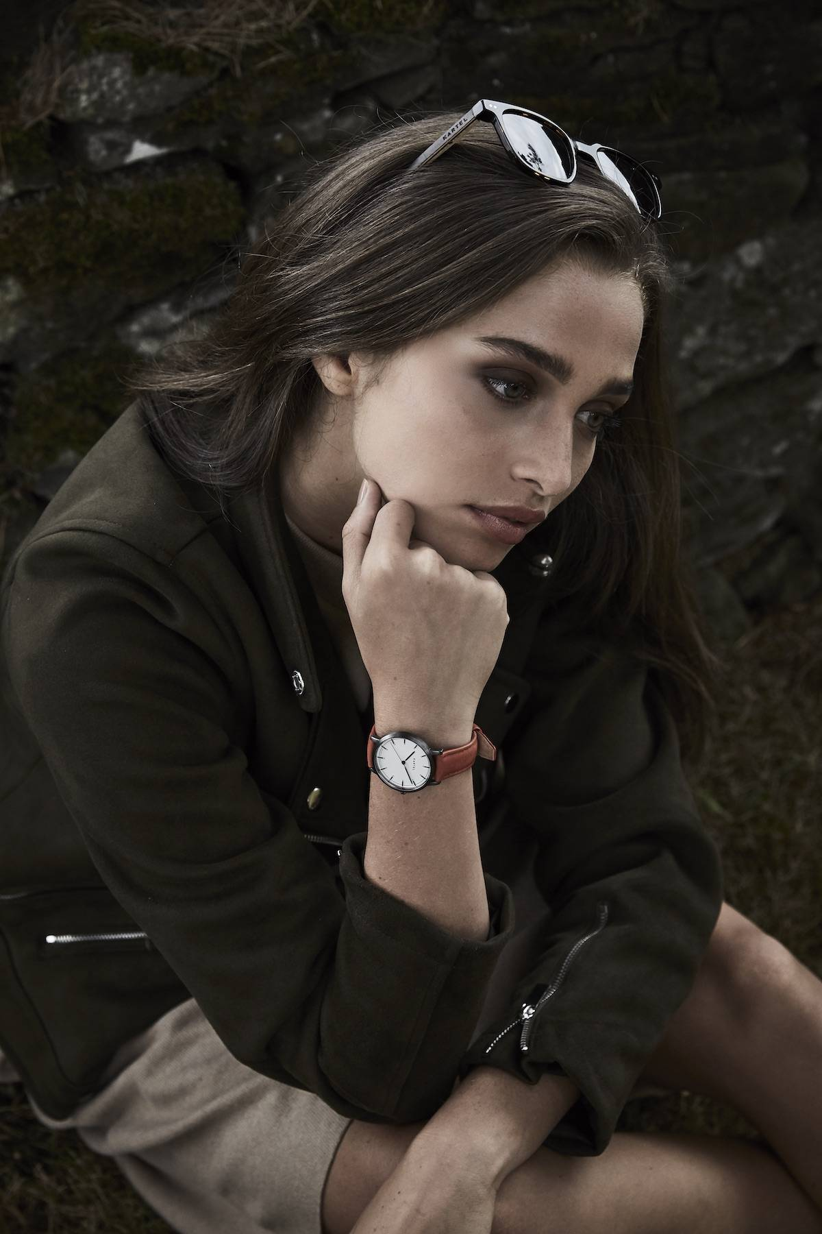 Scottish female model Talia Wallis for Kartel Scotland's A/W18 watch collection