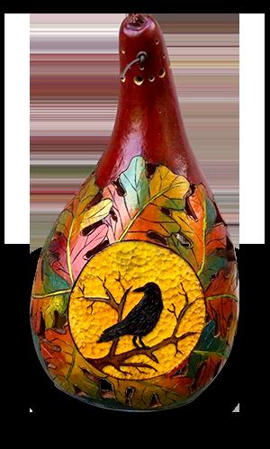 Gourd art by Sue Sweder