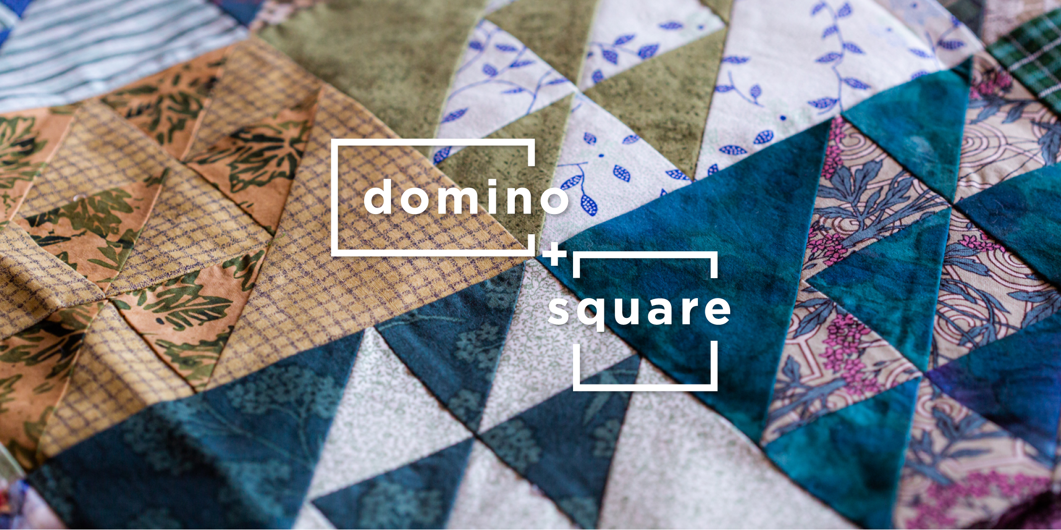 Knitting Pattern Collection: Winter 2021 A Domino + Square - title overlaid on an closeup photo of a colorful geometric quilt
