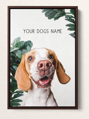 Modern Dog or cat art on framed canvas