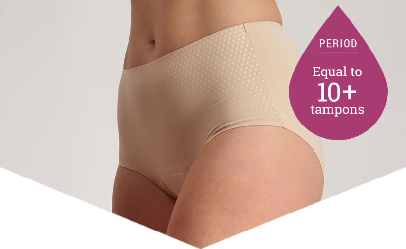 Full Brief Extra Beige - Heavy Period Underwear - 10+ Tampons Worth - Just'nCase by Confitex
