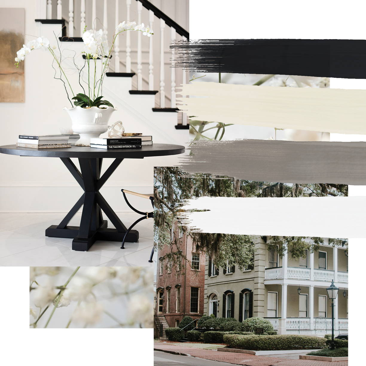 Traditional interior design style moodboard