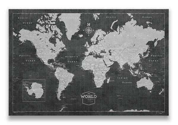 World Map Pin Board Modern Slate