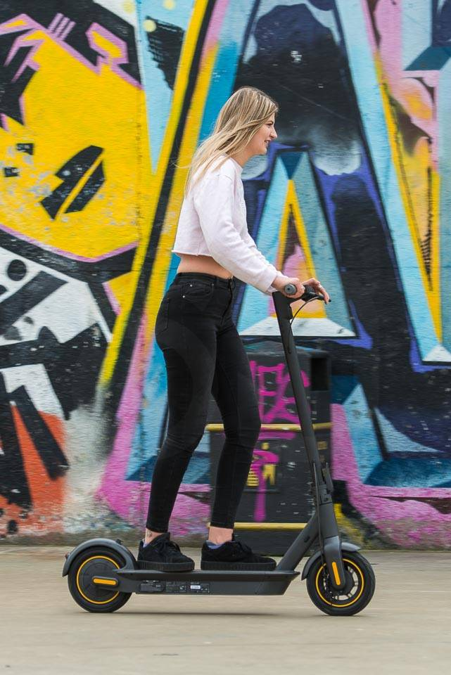 Ninebot Max G30 Electric scooter riding side right portrait