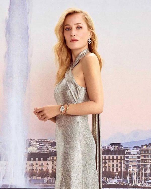 Gillian Anderson wore Galvan Pandora Dress in platinum in Vanity Fair