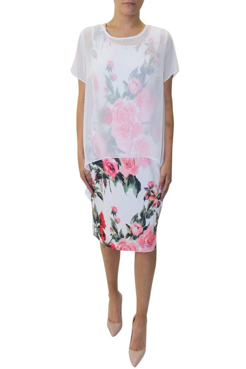 Roses Overlay Dress - White