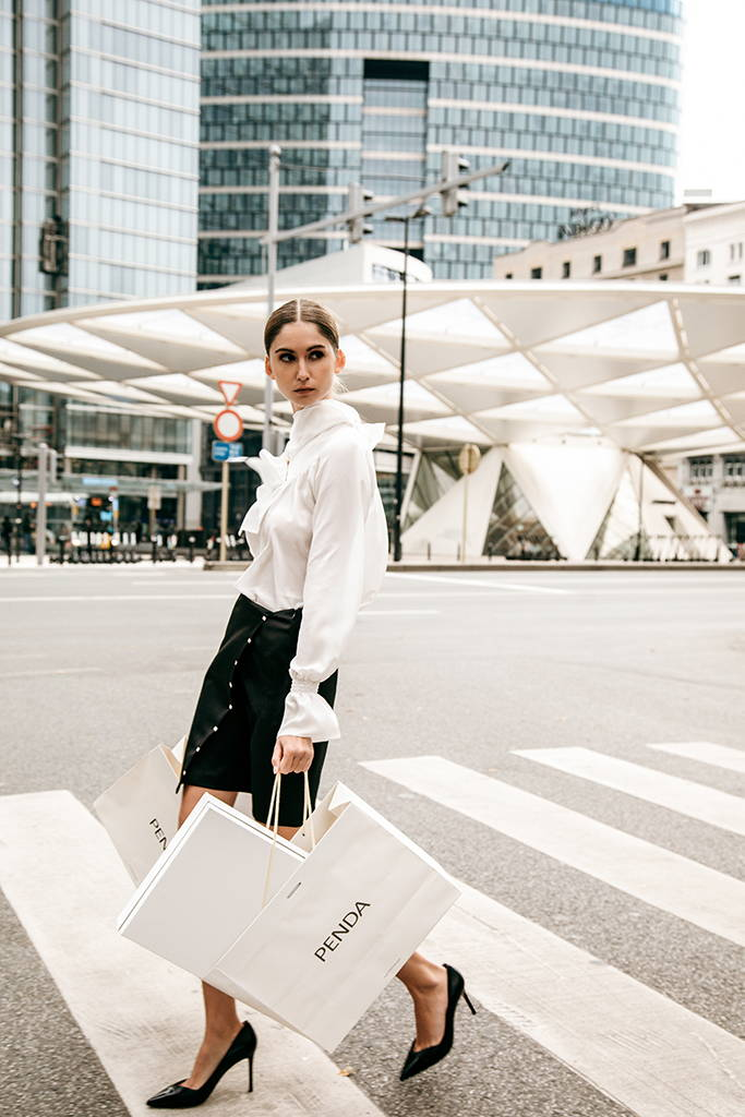 PENDA • Luxury Designer Fashion  • Charming Crepe de Chine Satin Blouse • Sustainable wool Skirt embroidered with silver rings • Brussels campaign • Brussels campaign • Place Rogier à Bruxelles