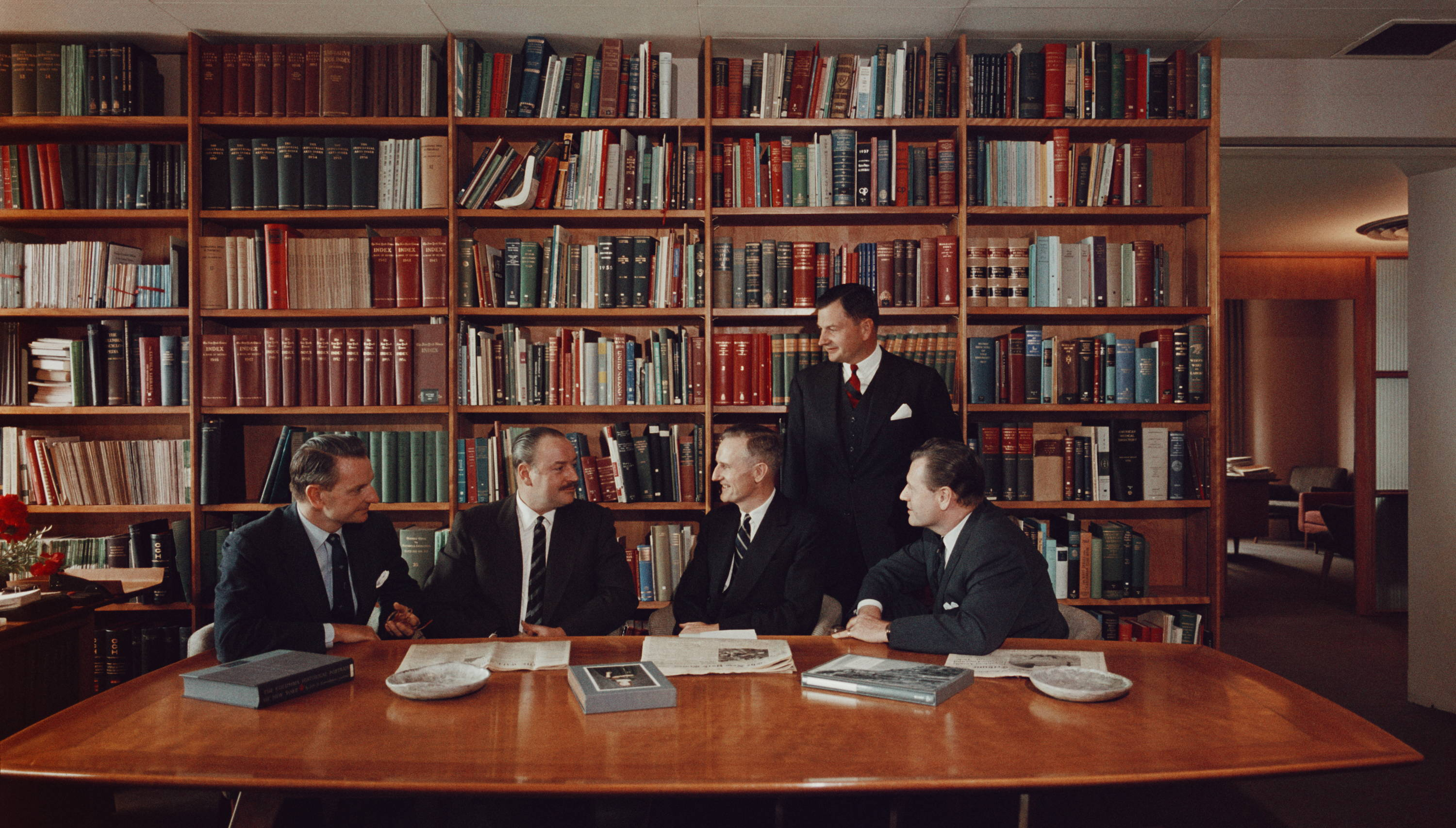 The Rockefeller brothers in their Radio City, New York office. Left to right, Laurance (1910 - 2004), Winthrop (1912 - 1973), John D. Rockefeller (1906 - 1978), David, and Nelson (1908 - 1979). Original Artwork: A Wonderful Time - Slim Aarons (Photo by Slim Aarons/Getty Images)
