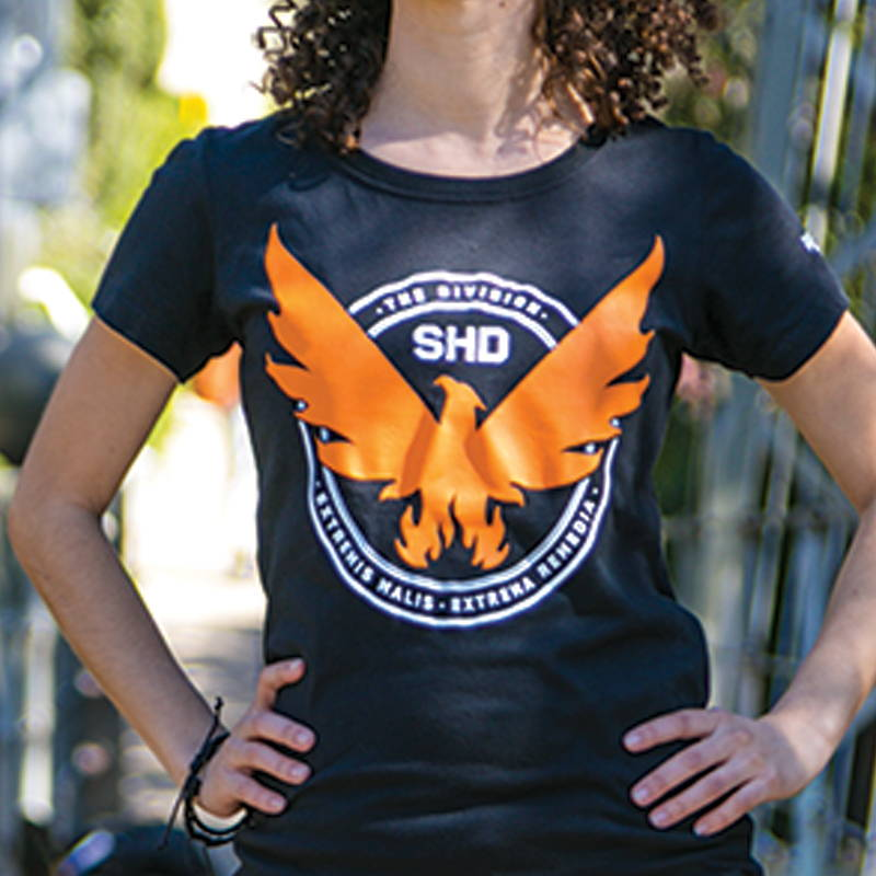 Photo of female model wearing The Division 2 shirt
