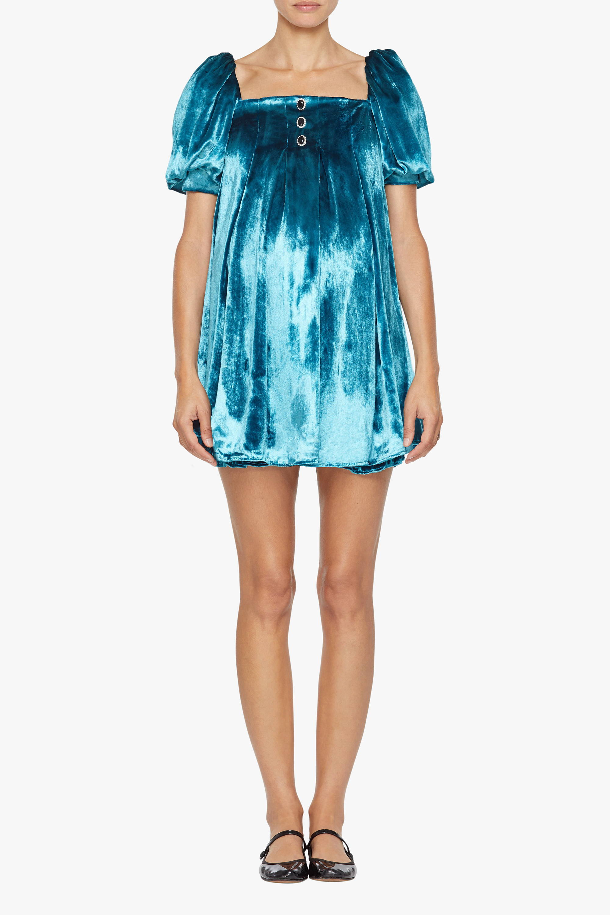 The maternity friendly Sunset dress in turquoise velvet