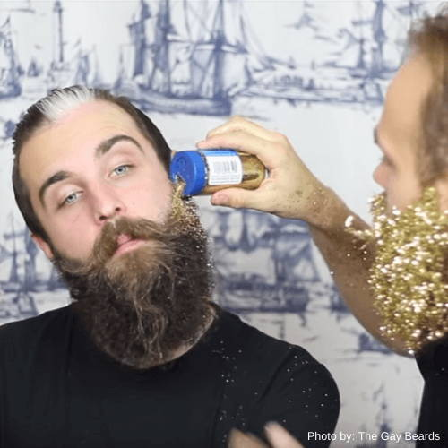 Putting on Festive Glitter on Your Beard