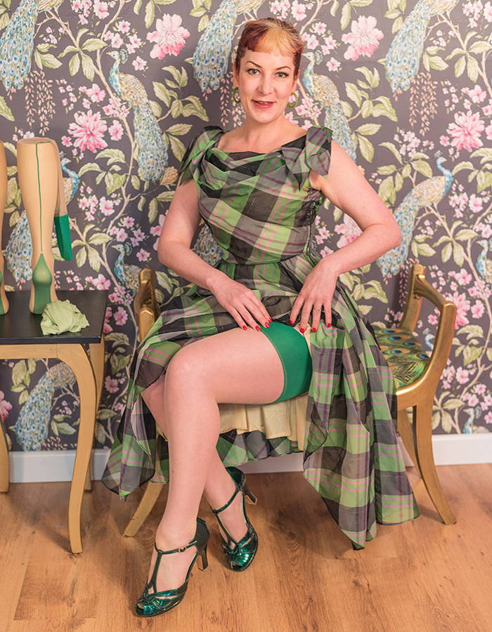 green seamed stockings styled with a vintage dress