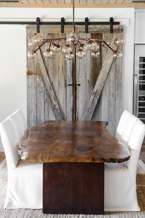 Live Edge Dining Table with Slipcovered Chairs by Starr Sanford Design