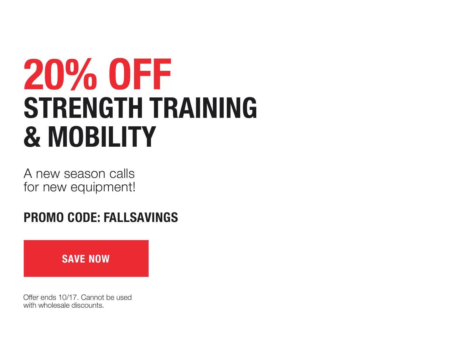 20% off mobility and strength training with code FALLSAVINGS