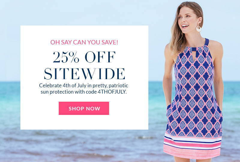 25% off Sitewide with code 4THOFJULY-Woman on the beach wearing Navy Geo Sleevless Shift Dress