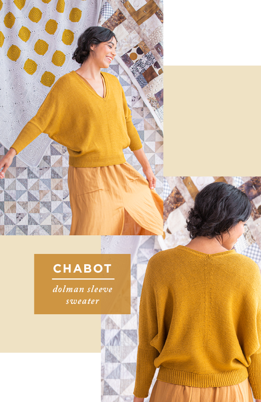 Two images showing front and back views of Chabot: dolman sleeve sweater