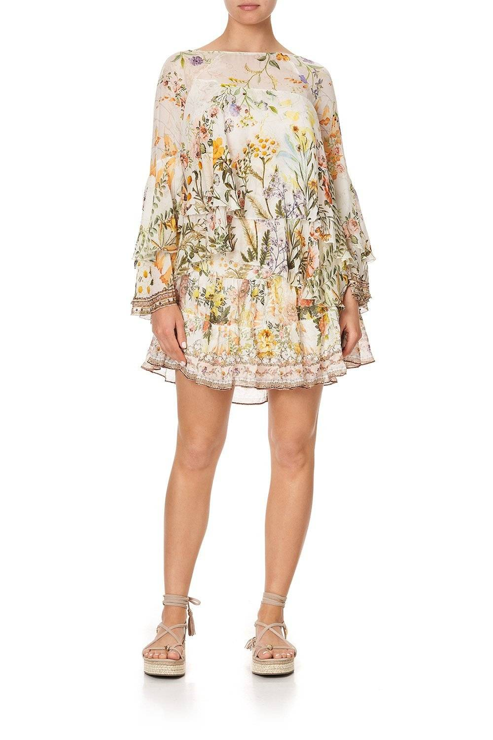 CAMILLA cream, yellow and green floral blouse with skirt